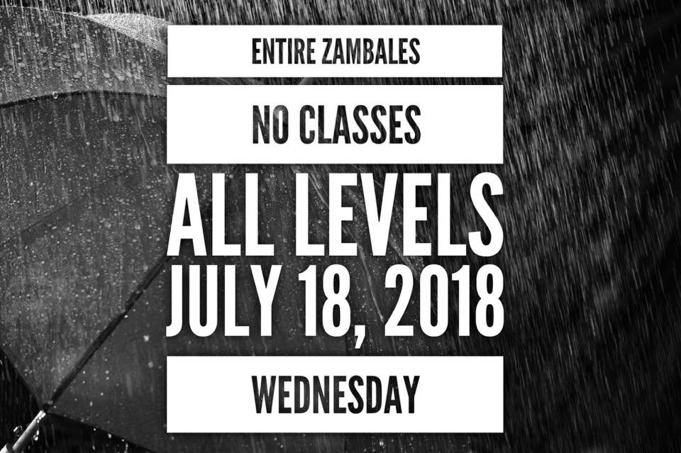 PROVINCE OF ZAMBALES (excluding Olongapo)   #WalangPasok in all levels, public and private, on Wednesday, July 18, 2018 due to #HenryPH   via @PIA_RIII
