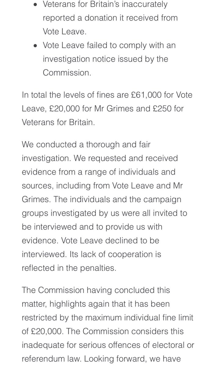 Whether or not the referendum outcome would have been different if Vote Leave had not broken the spending rules, should not @michaelgove and @BorisJohnson apologise on behalf of the campaign?