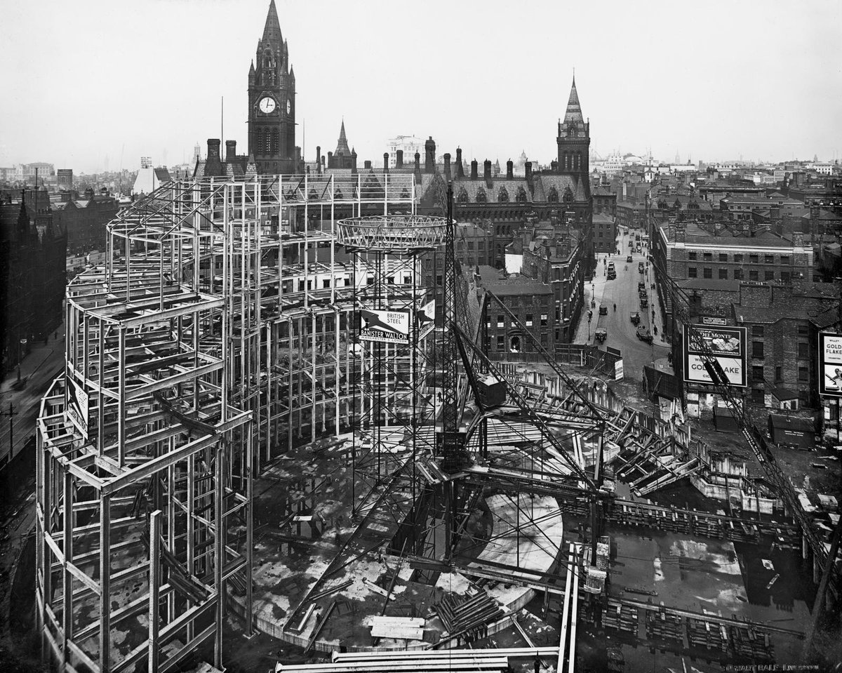 The Grade II* Manchester Central Library was officially opened by King George Von this day in 1934 .  This image from @HE_Archive shows it under construction   https://t.co/l0GagJgkjW