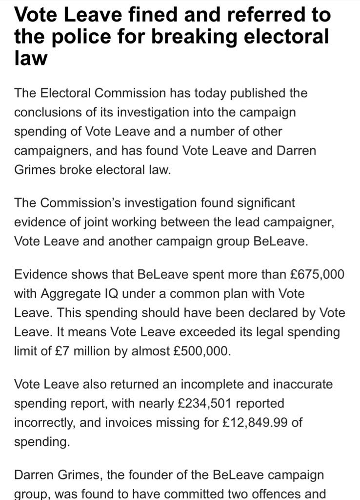 "official referendum Vote Leave campaign broke electoral law - @ElectoralCommUK. VL had common plan with ""Beleave"" to exceed legal spending limits. ""substantial evidence"" re common plan"". Vote Leave's Halsall & Beleave's Darren Grimes reported to Met Police re false declarations"