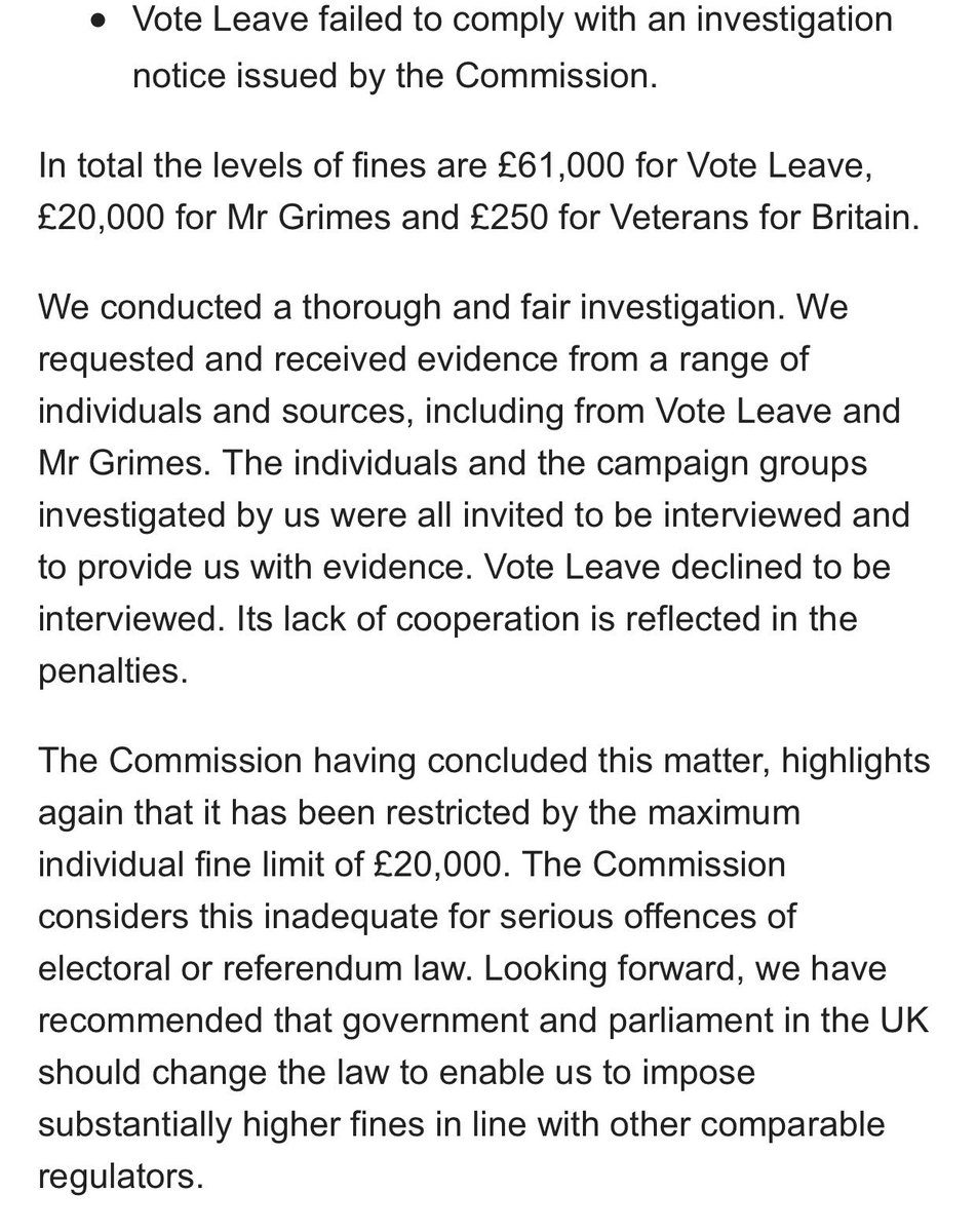 "Conclusions: ""All Mr Grimes' & Beleave's spending was incurred under a common plan with Vote Leave"" ""Beleave exceeded spending limit by £666k"" ""VL failed to comply with investigation notice"" ""VL declines to be interviewed"" £20k fine insufficient a inadequate for serious offences"