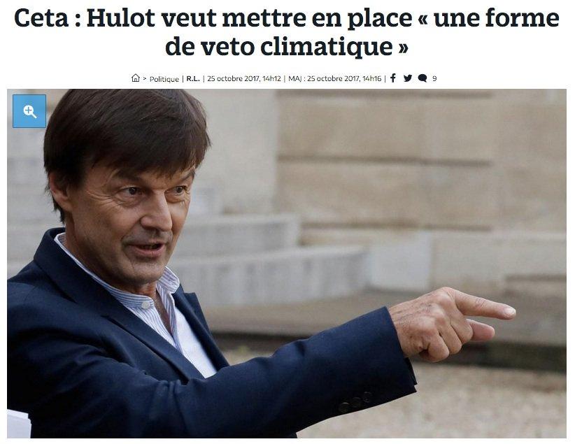 Toutes les promesses d @EmmanuelMacrone  &   @N_Hulotont été remisées  ▶️ pas de  #VetoClimatique sur #CETA   ▶️ pas de volonté de transformer l'agenda commercial de l'UE  ▶️ pas de volonté de défendr #AccordDeParise  face à l'agenda commercial climaticide  (on l'avant annoncé)