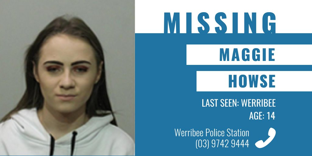 Police are appealing for public assistance to help locate missing Werribee teenager Maggie Howse. → https://t.co/0I5txvITDc