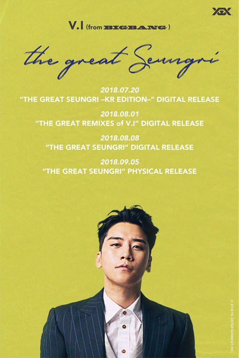 【#VI】 約5年ぶりとなるニューソロアルバム「THE GREAT SEUNGRI」9/5(水)発売決定🎉全曲の日本語Ver.と日本盤の為だけに制作されたV.Iの代表曲11曲のREMIX Ver.もコンパイルした超豪華内容🌈✨  商品詳細・ご予約はコチラ▶️https://t.co/nNqHe1gML4
