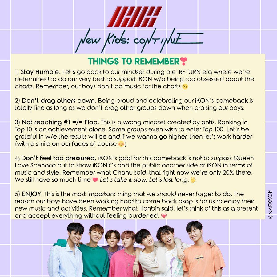 THINGS TO REMEMBER FOR CONTINUE CB I made this so that we would have a positive mindset and energy before the actual comeback in order to fully enjoy New Kids: Continue era. Our new/baby konics I hope this will help y&#39;all~   (Feel free to RT/Repost) <br>http://pic.twitter.com/tOgiyoKcgY