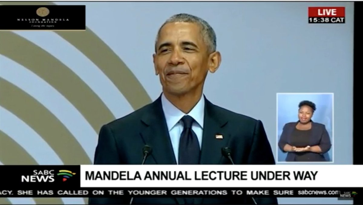 Former President Barack Obama is speaking at a Nelson Mandela Foundation event in South Africa. It's his first trip to Africa since he left office.  Watch live: https://t.co/cWojt1CINV