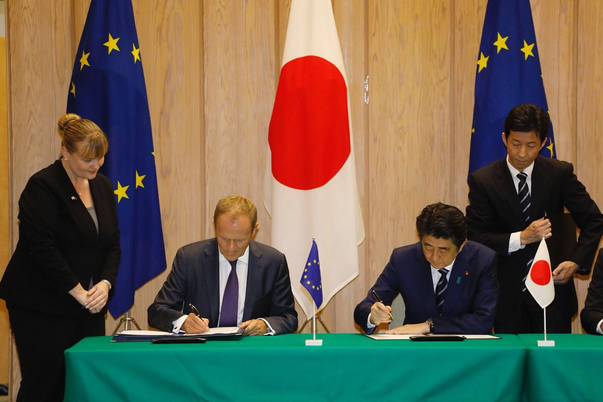 With the largest bilateral trade deal EVER, today we cement Japanese-European friendship. Geographically, we are far apart. But politically and economically we could hardly be any closer. With shared values of liberal democracy, human rights and the rule of law.