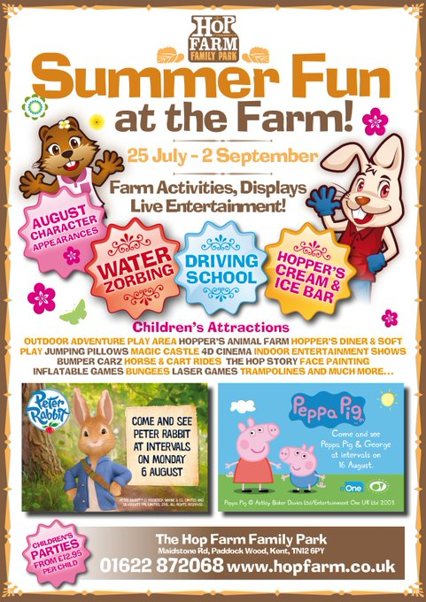 SUMMER FUN AT THE HOP FARM! 25 July – 2 Sept.  Children's rides, attractions, animal farm and TV character appearances on selected dates: Peter Rabbit™ and Peppa Pig & George! @KMWhatsOn @KSCourier #peterrabbit #peppapig https://t.co/khtyCNTiEb
