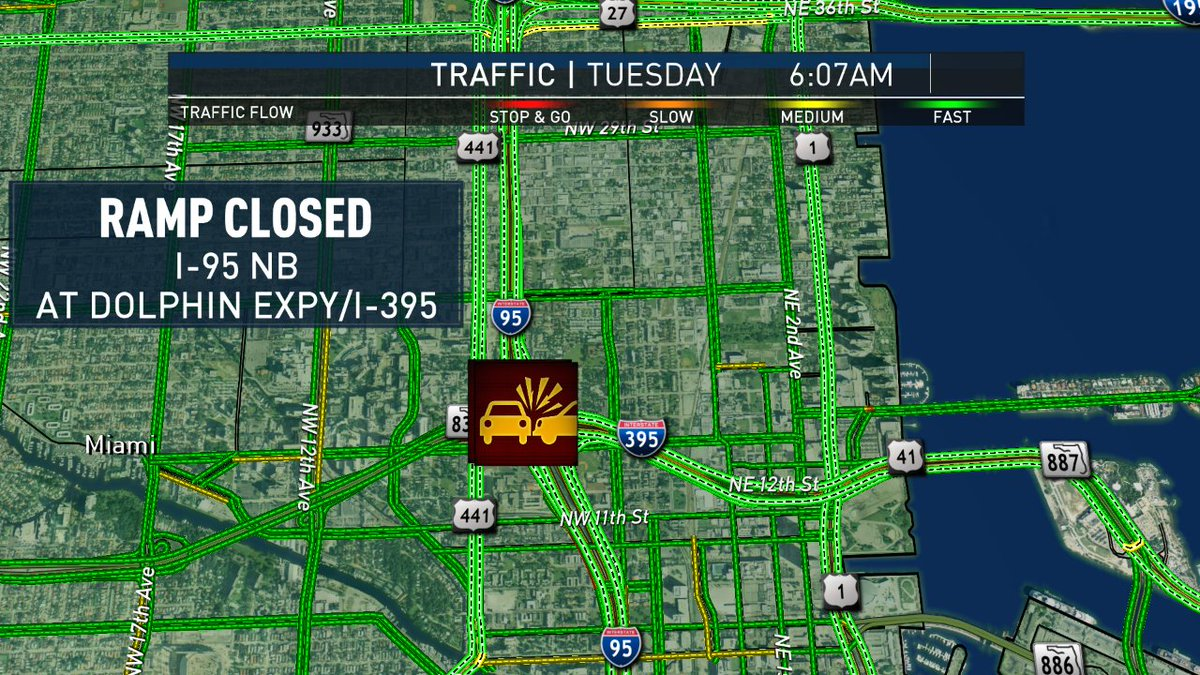 #CRASH: ramp closed to 395 for emergency vehicles after a crash on I-95 NB at Dolphin Expy @nbc6<br>http://pic.twitter.com/PXSY5qf7O8