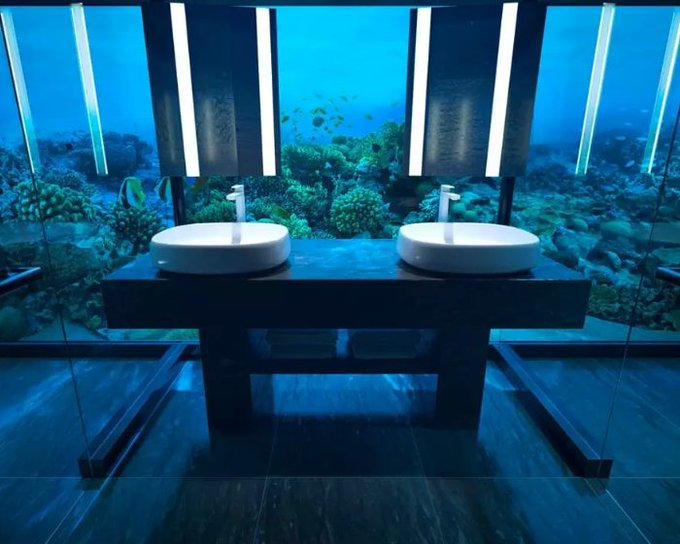 Underwater en suite #bathroom! 🐳This incredible #traveltuesday inspiration is in @ConradMaldives. For more inspiration Photo
