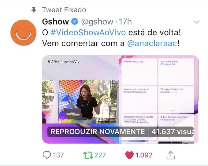 Ana Clara nas redes sociais da Globo onde ela fica ao vivo 100% do tempo do Vídeo Show !!!! Aqui no TT 41k de visualizações no Facebook 283mil visualizações 4,6mil comentários 5mil likes !!! E a #VídeoShowAoVivo em 2 nos mundiais !!! Foto