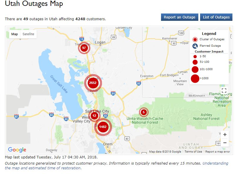 HAPPENING NOW: @RMP_Utah reporting 49 outages in Utah affecting 4248 customers. The largest outage is in the Ogden area. #KSLAM #utah<br>http://pic.twitter.com/ylhuAIRLfn