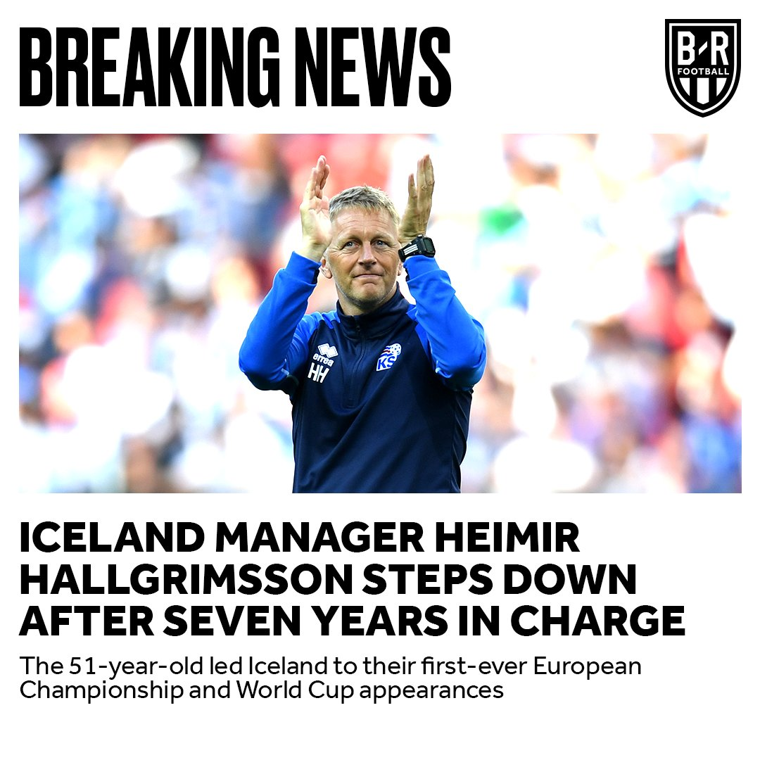 Iceland manager Heimir Hallgrimsson steps down after leading his country to their first-ever European Championship and World Cup 👏🇮🇸