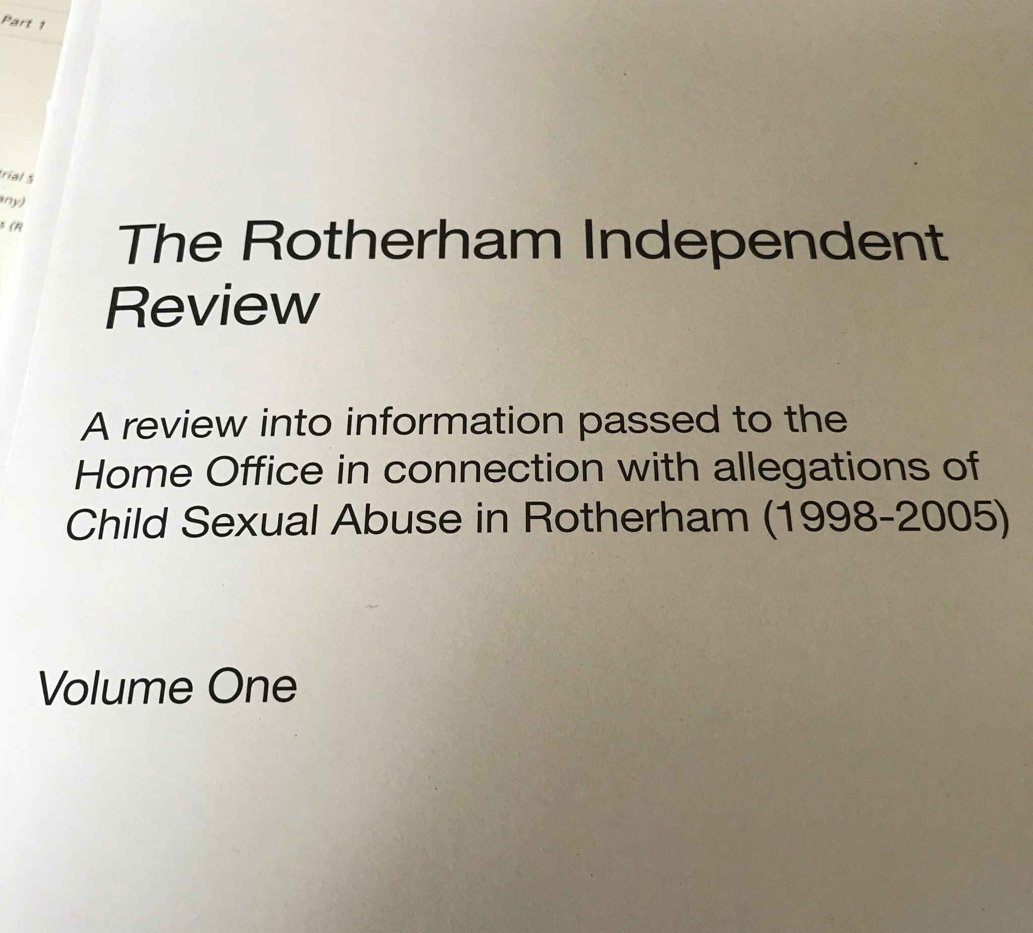 Just released. Review into what the Home Office knew about #Rotherham child abuse https://t.co/f7isCI0kXH