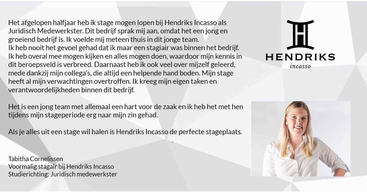 test Twitter Media - Bij @HendriksIncasso bieden wij de ruimte om te groeien binnen je vakgebied en jezelf te ontwikkelen binnen het bedrijfsleven. Bedankt voor de mooie woorden Tabitha Cornelissen!   Ook stage lopen bij Hendriks Incasso?  Mail naar info@hendriksincasso.nl voor de mogelijkheden! https://t.co/BHQt4xEnOZ