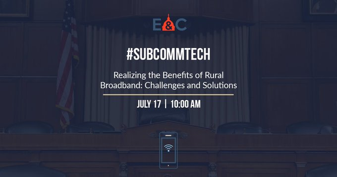 LIVE NOW: #SubCommTech convenes hearing titled Realizing the Benefits of Rural Broadband: Challenges and Solutions >> Photo