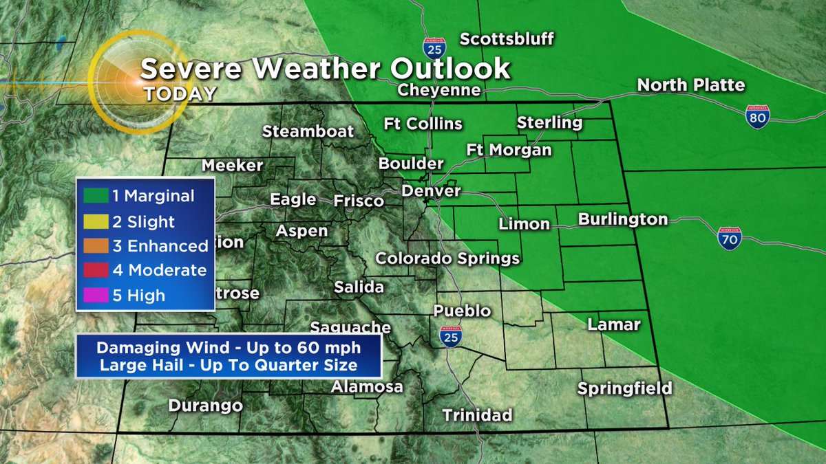 Severe weather today? In Denver?? Yes, it's possible but a bit more likely east of the urban corridor. Officially we're under a 'marginal' threat. The primary concern is storms after 3pm causing damaging wind. Hail is also possible #CBS4Mornings #4wx #cowx