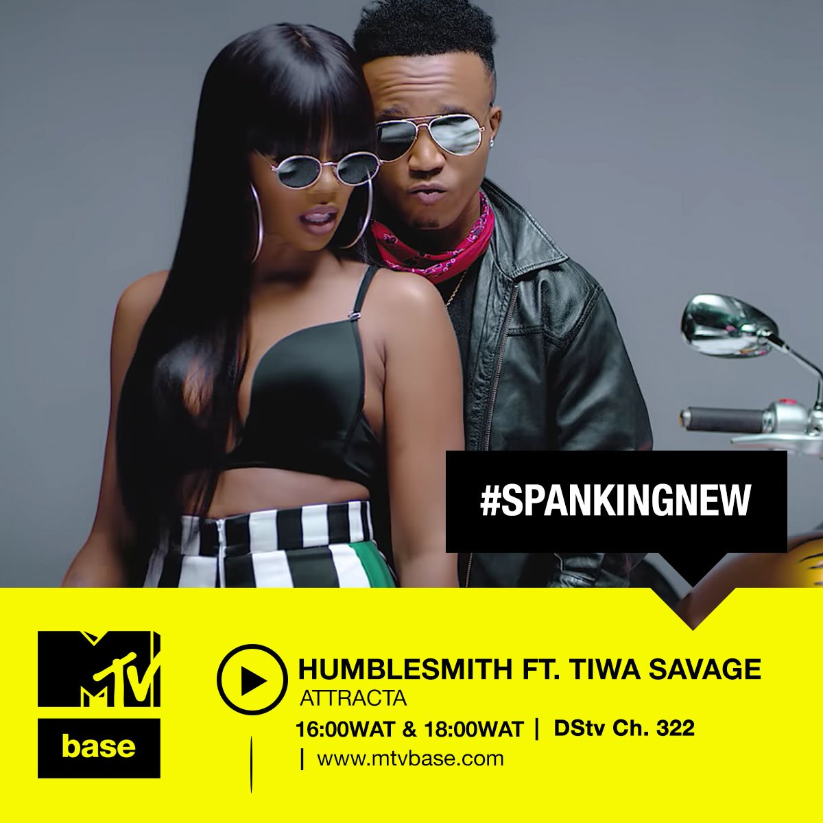 Tune in to Watch the premiere for @humblesmiths video to 'ATTRACTA' ft @TiwaSavage on #MTVBaseCh322 today @ 16:00 and 18:00 WAT on #SpankingNewPremiere