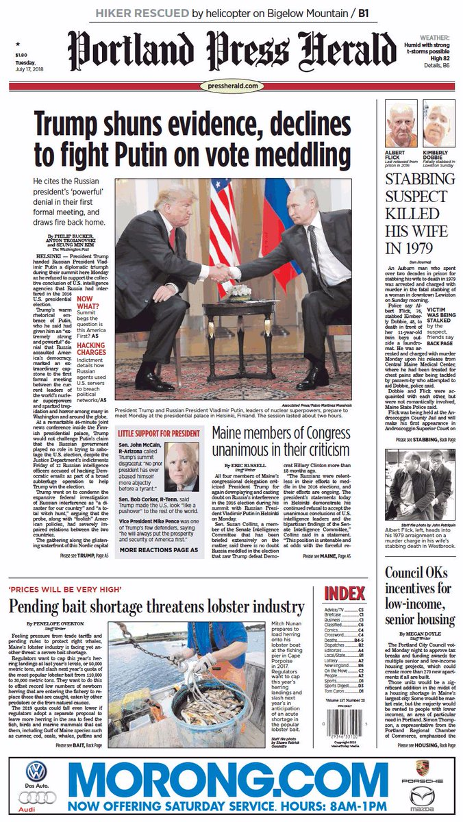 Today's Portland Press Herald front page, Tuesday, July 17, 2018