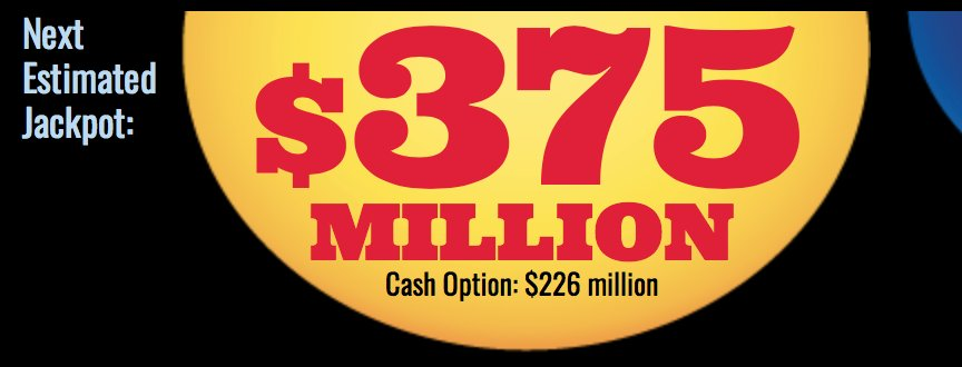 WIN BIG: Tonight is the next drawing for the Mega Millions! It will be the 10th largest payout in Mega Millions history at $375 million dollars. Get your numbers now because the drawing tonight is at 8 p.m. PST #MegaMillions <br>http://pic.twitter.com/aAfWLHhg4a