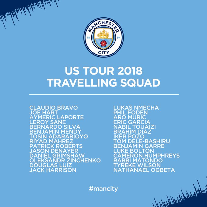 Our US Tour travelling squad in full! ⚽️🇺🇸 #mancity Foto