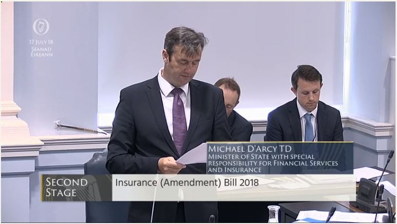 Minister @michaeldarcy is in the Seanad now for all stages of the Insurance (Amendment) Bill 2018. Watch live https://t.co/OgNUp4y94M @OireachtasNews