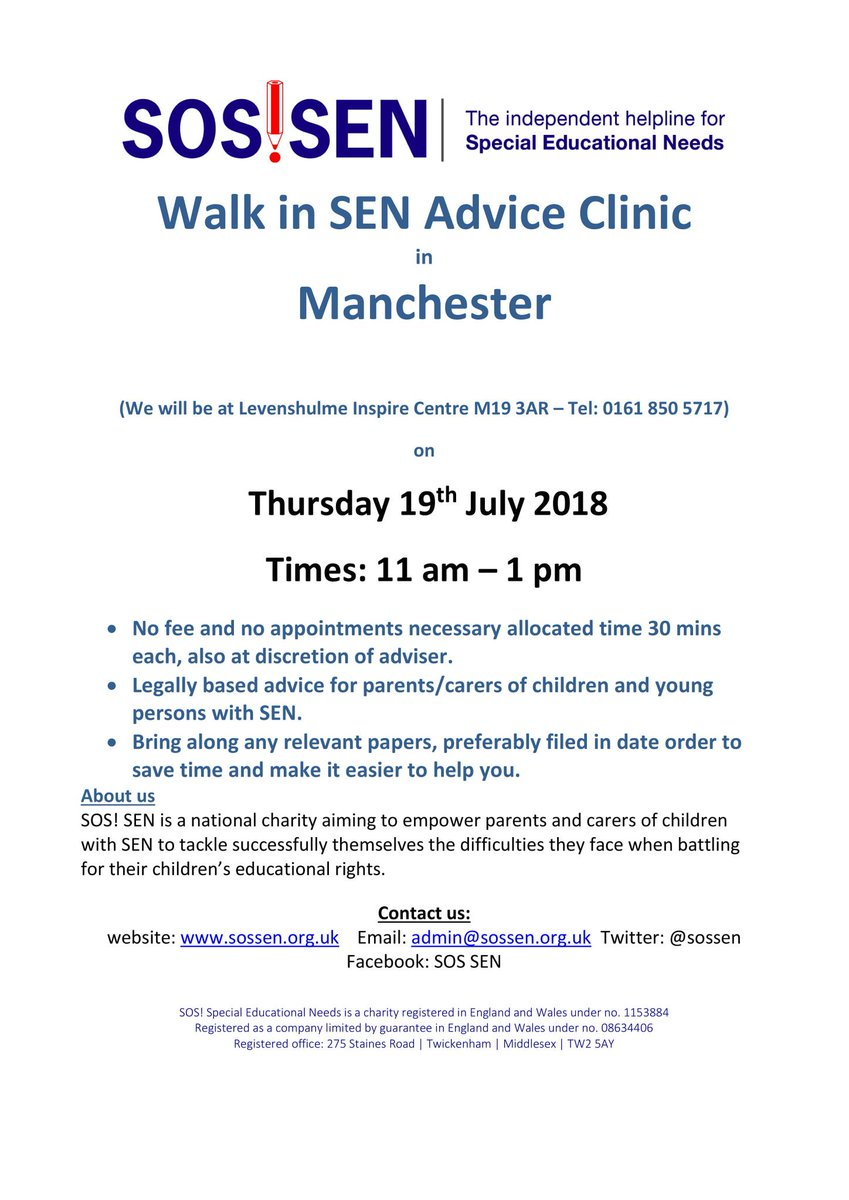 SOS!SEN drop in clinic at Inspire tomorrow 11am until 1pm. Free legally based advice for parents and carers for children and young persons with Special Educational Needs. See poster for more details.