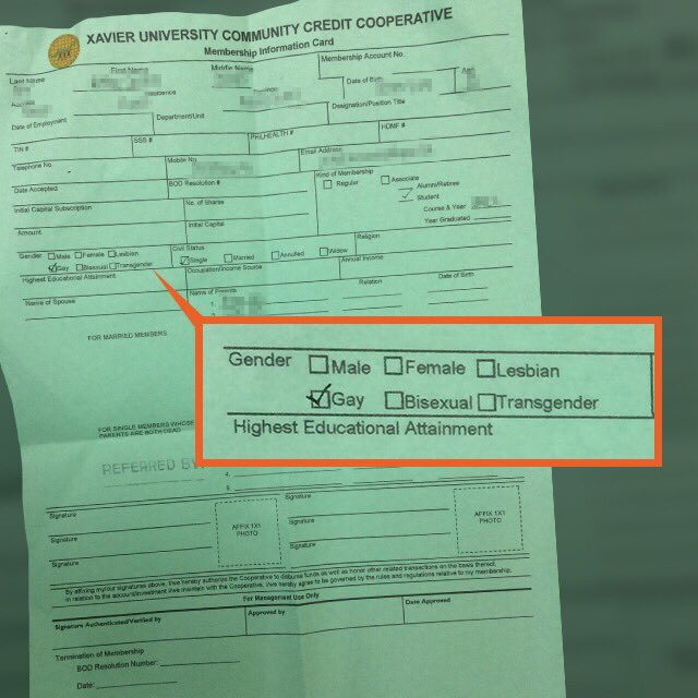 VIRAL: A student leader shares a form from the Xavier University Community Credit Cooperative (XUCCCO) that has various options for gender. This is one step in acknowledging the LGBT community! || Photo by @akosishueng<br>http://pic.twitter.com/p2OceC9Z3I