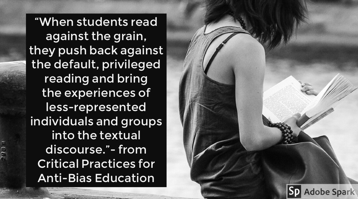 """Are your students reading """"against the grain""""? Done are the days of reading a text for the """"right"""" interpretation. Now is the time for a critical lens to be applied and for positions to be formulated and defended. #EdTechAfterDark #tlap #KidsDeserveIt #ReadingSummit <br>http://pic.twitter.com/LtOlINm46B"""