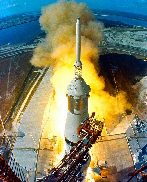 From above, Apollo 11 launch, yesterday 1969, 9:32 EDT:   #NASA