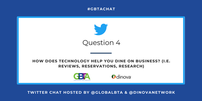 Q4: How does technology help you dine on business? ( reviews, reservations, research) #GBTAchat #TravelTuesday @DinovaNetwork Photo