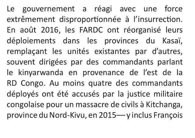 #RDC #Kasai : ce que rappelle @GEC_CRG, c'est que au moins 4 des officiers impliqués ds le massacre de Kitchanga étaient présents et déployés ds les Kasai et soupçonnés des crimes les plus graves dont le colonel François Muhire (2101, ex-812e) - https://t.co/2DwUJdO01E