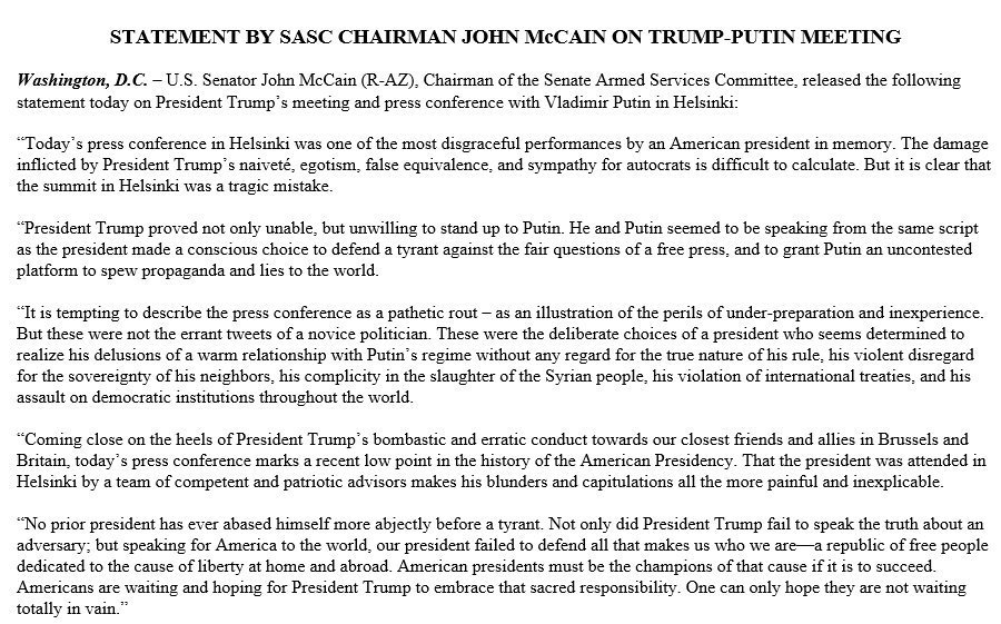 The GOP leadership must decide whether Congress will continue being cowardly, obedient followers of the president's absurd policies. Despite battling brain cancer, Sen. John McCain has shown more courage in standing up to Trump than virtually the entire Republican Party combined.