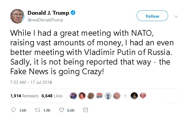 &quot;Big Success. Fake News.&quot;  #treasonsummit #trump #putin #nato #treason! #treason! #treason! #treason! #nuts! TREASON @realdonaldtrump!<br>http://pic.twitter.com/3i1lNuf7yc
