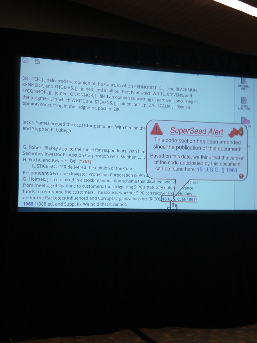 #AALL18 #innovationtournament SuperSeed product would alert readers of a code change in case opinion citations and would lead to the appropriate version. <br>http://pic.twitter.com/JrwHGjD4m6