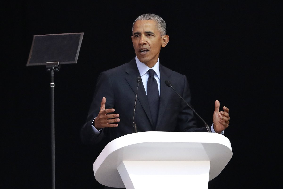 'Countries which rely on rabid nationalism and xenophobia and doctrines of tribal, racial or religious superiority as their main organizing principle … Eventually those countries find themselves consumed by civil war.'  — Former President Obama speaking today in South Africa