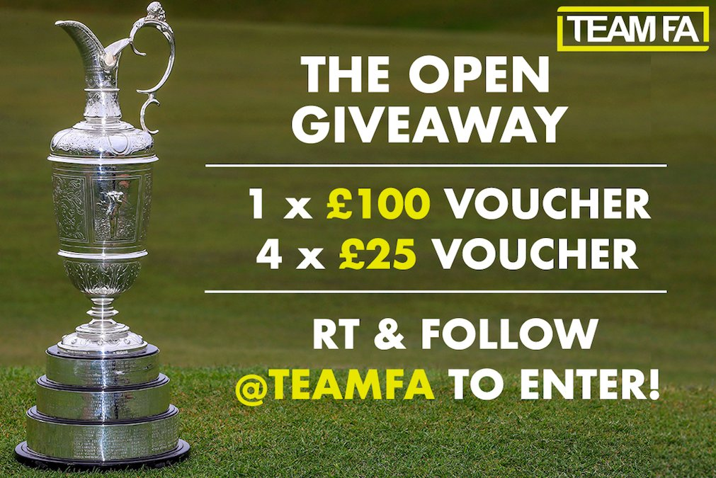 🚨⛳️ THE OPEN GIVEAWAY ⛳️🚨 RT & follow @TeamFA to enter 🙌 Were giving away FIVE American Golf vouchers to 5 different winners! 🏌️♂️ Winners announced at 12pm Thursday! #TheOpen