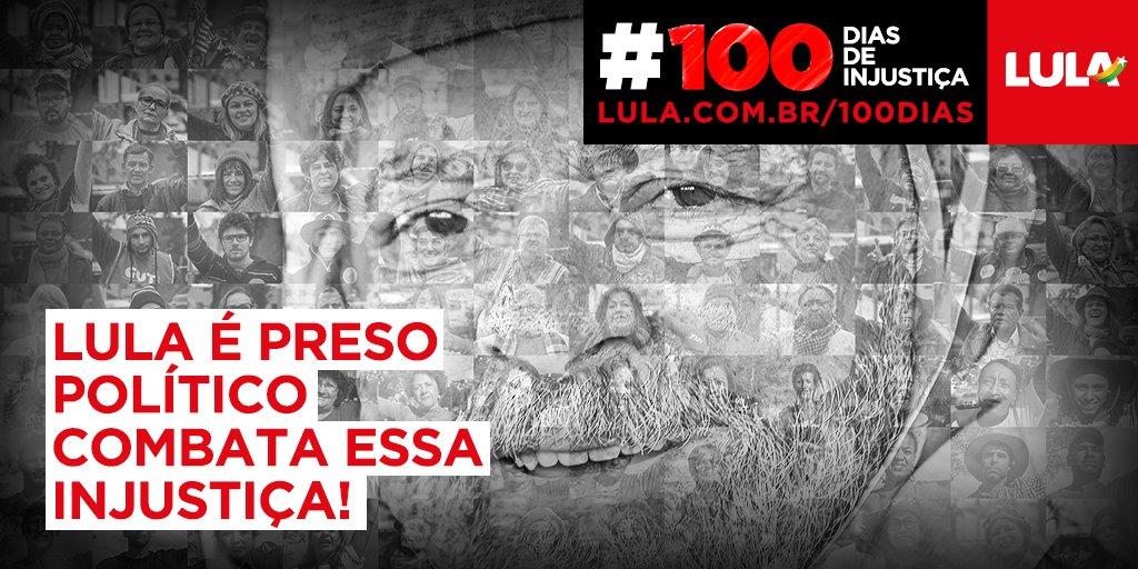 Os poderosos mantêm @LulaOficial preso pra ele não voltar ao Governo. #100diasdeinjustiça https://t.co/v1iQKdF1Fb