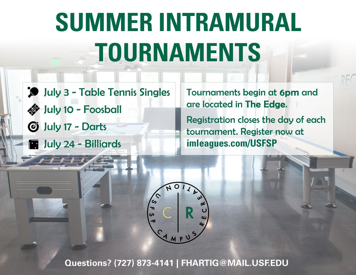 #USFSP Campus Recreation at will be hosting another Summer Intramural Tournament tonight! Head over to The Edge at 6pm to compete in darts. <br>http://pic.twitter.com/LLJQFZmwIz