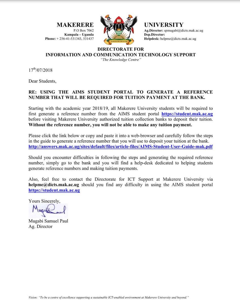 makerere university on twitter dear students please click the rh twitter com Mubs University Makerere University Logo