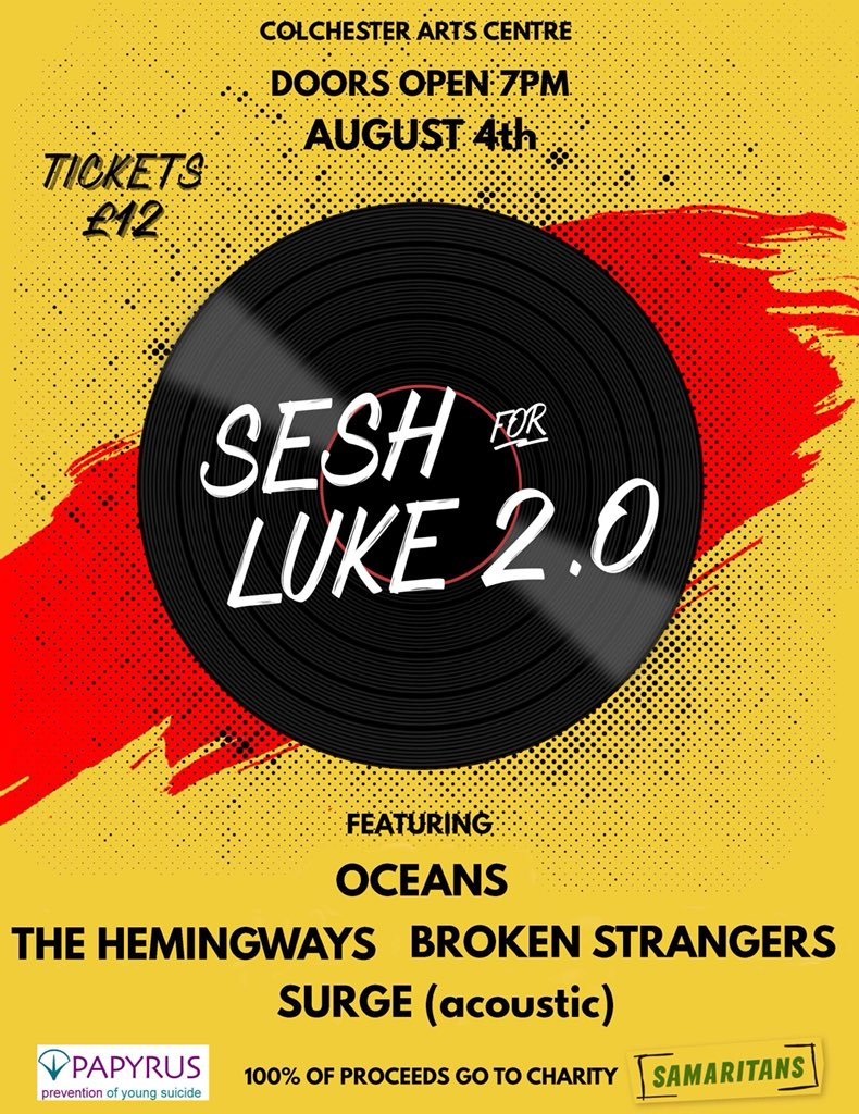 🔥ANNOUNCEMENT🔥We are so stoked to be playing the @ColchesterArts on the 4th August with some other banging bands, including our a local favourite of ours Broken Strangers All for a really important cause and we are honoured to be a part of it!