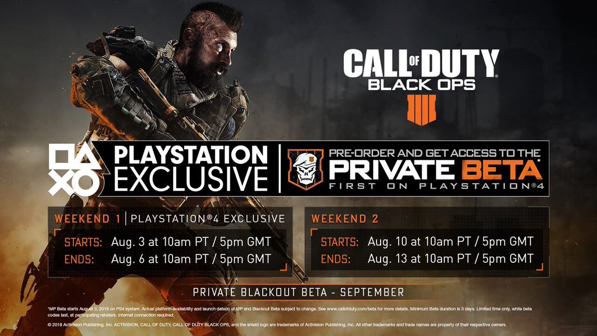 Call Of Duty News On Twitter The Call Of Duty Black Ops 4 Private Mp Beta Begins In 2 Weeks On Playstation 4 Pre Order To Get Access Full Mp Beta Schedule Https T Co Moprmh772d