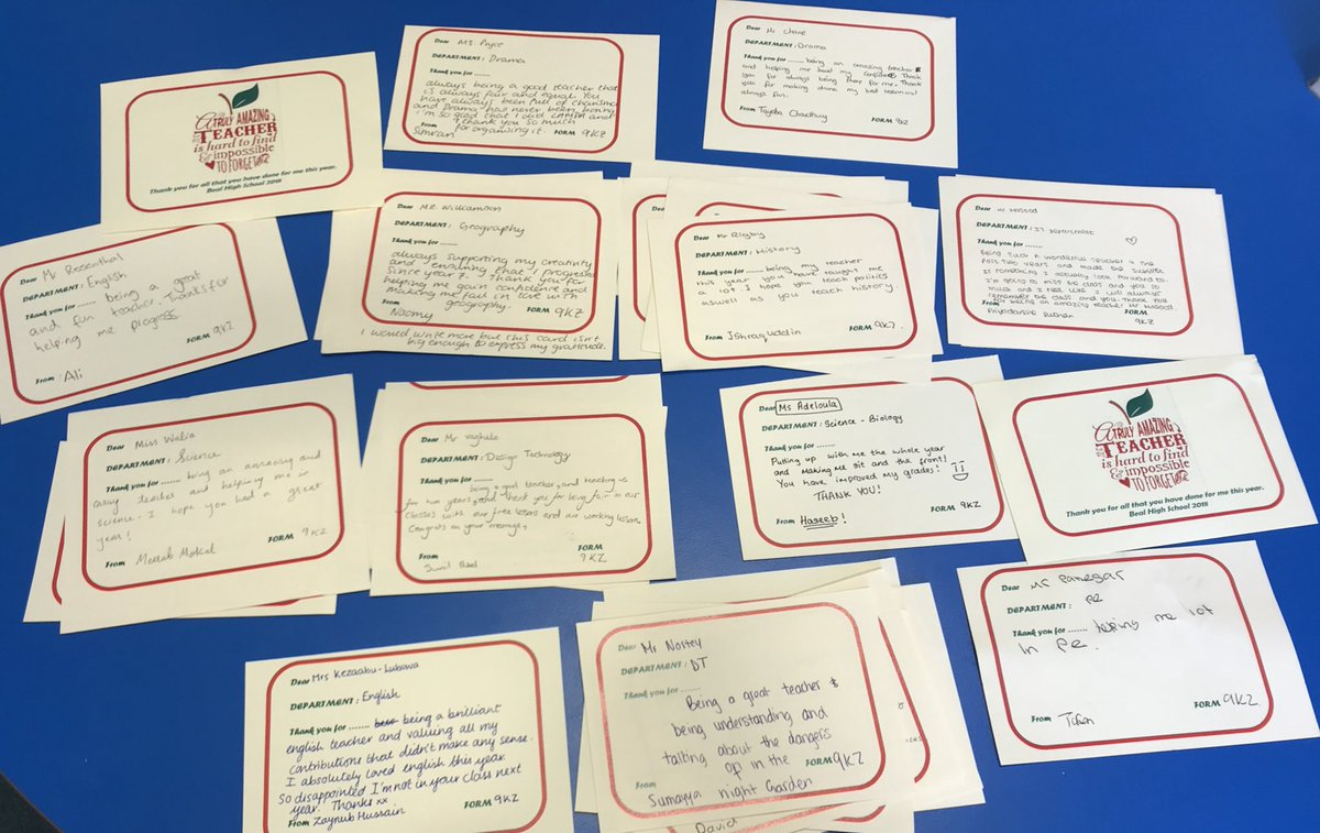 Postcards for staff at Beal High School from students! In total Years 7-10 will have sent over 1400 wonderful and heart warming messages to say thank you. #appreciation #gratitude #thanks #showthemyoucare @bexceptional1 @BealKS4<br>http://pic.twitter.com/vliAgSP8UL