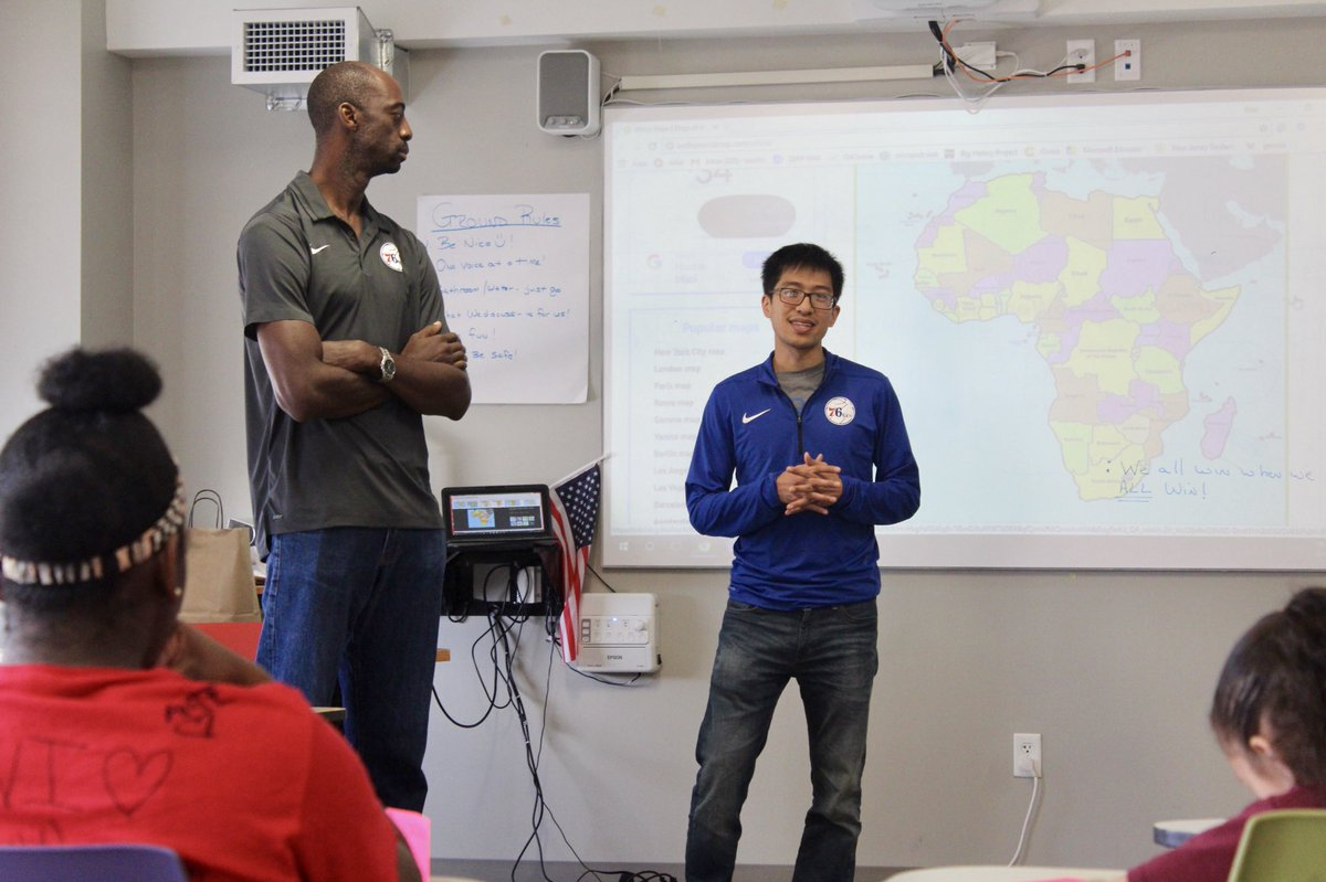 Michael Lai and Reuben Boumtje-Boumtje from the @sixers analytics team spoke to students today from Camden's LEAP Academy University Charter School about leadership and mathematics, and the role the two play in their professional life!