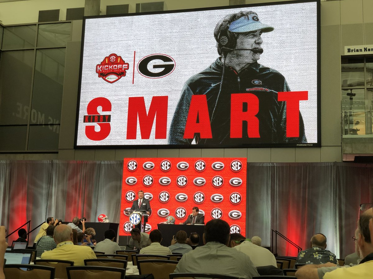 """Easily my favorite quote of the day comes from Kirby Smart on the upcoming season """"It&#39;s going to be the measure of potential versus effectiveness…I think potential is dormant ability. And I think effectiveness is what we get out of our potential."""" #SECMD18<br>http://pic.twitter.com/4vCh5E6scM"""