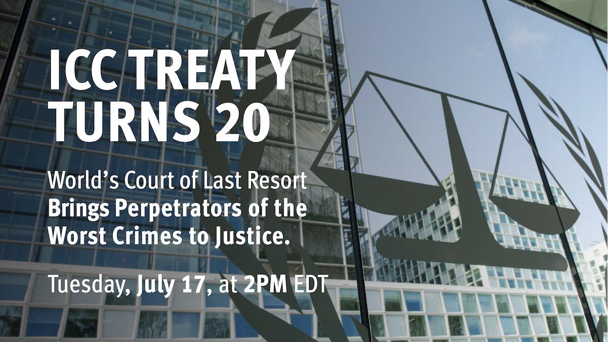 The #ICC Treaty Turns 20 - Facebook Live discussion starting in 15 minutes! https://t.co/duP4dwHKeo