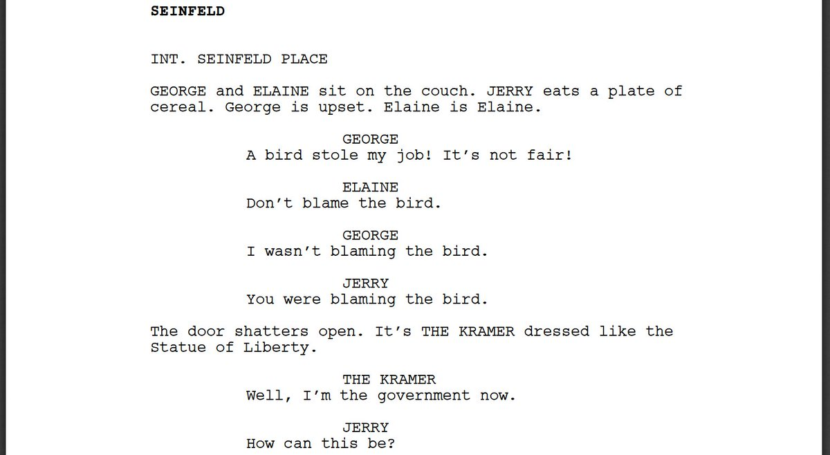 I forced a bot to watch over 1,000 hours of Seinfeld and then asked it to write an episode of Seinfeld of its own. Here is the first page.