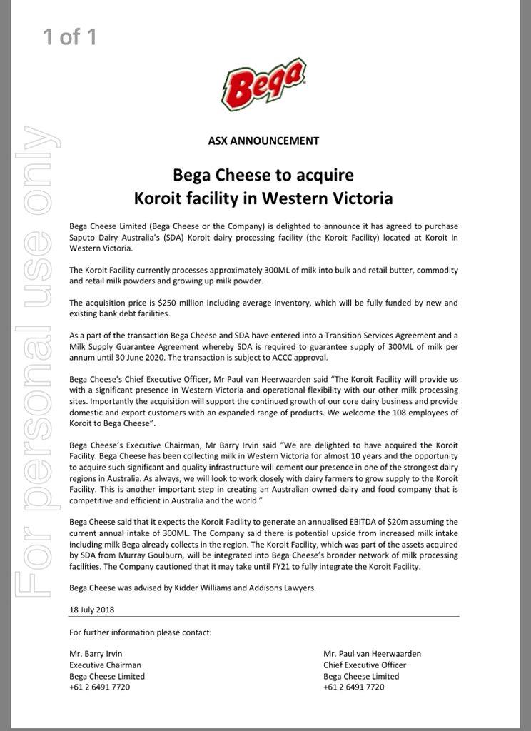 Steve Ralston On Twitter Bega Chees Acquires Koroit Plant