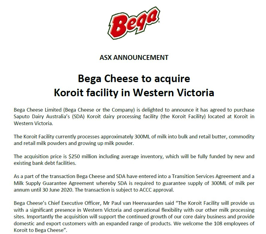 Commsec On Twitter Bega Cheese Bga Agrees To Buy Saputo Dairy