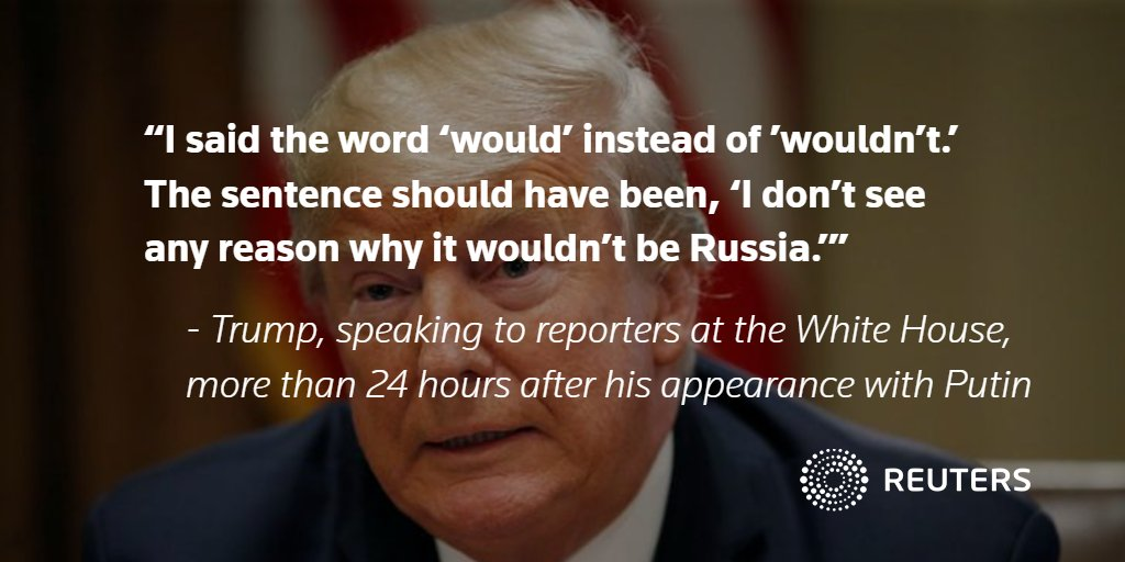 Trump tries to calm political storm over Putin summit, saying he misspoke: https://t.co/79n1Y7w20W https://t.co/sENuHEbOZJ
